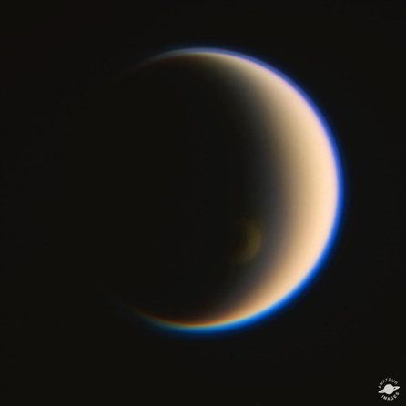Jason Major created this RGB-composite showing Saturn's largest moon Titan. Major used raw Cassini images acquired on 1/92/2914. 'The moon's south polar vortex can be seen just along the terminator, as well as its cyan-colored upper-level haze layer,' Major said in a NASA statement.  These amazing images of Saturn were created by enthusiasts from the public data available from the Cassini spacecraft.