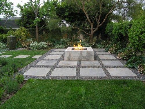 contemporary landscape by peter ivancovich landscape design concrete fire pit - Living Gardens Landscape Design