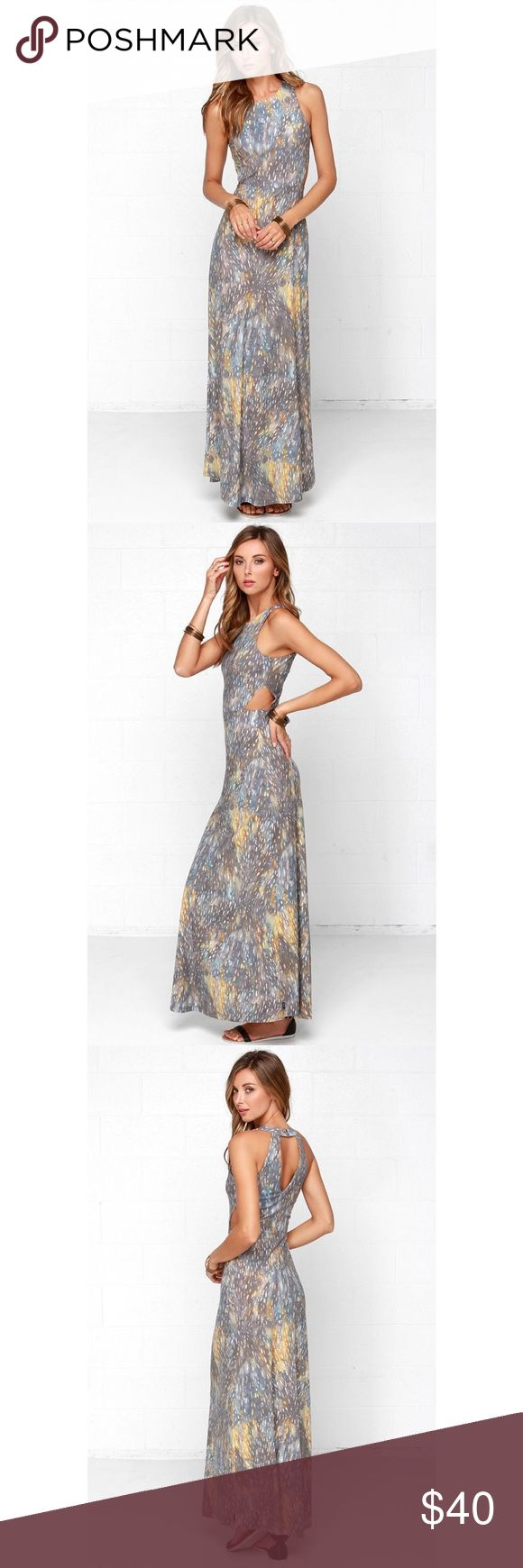 RVCA Outer Reaches Print Maxi Dress Check out this highneck RVCA maxi dress! Trendy side cutouts! Soft grey knit has a beautiful celestial print with yellow-gold and ivory. Double snap button closure tops a sexy back cutout. Bodice has attached shelf bra and the skirt is unlined. I wanted this for so long and bummed it doesn't fit me! This dress is a small but fits like an XS so I listed as such. Big breasted gals beware!!!  • Size Small (Fits like XS) • 65% Polyester / 35% Viscose • Length…