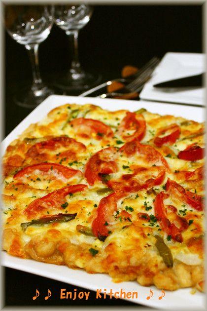 ふんわり柔らか♪鶏胸肉でお肉ピザ by EnjoyKitchen [クックパッド] 簡単おいしいみんなのレシピが232万品