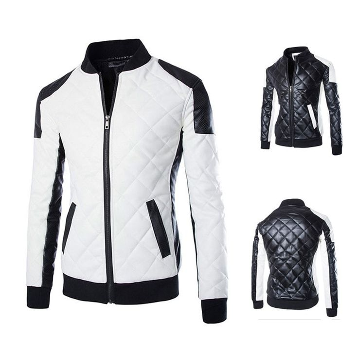 Diamond Stitched Winter Leather Jacket - Jacket - eDealRetail - 1