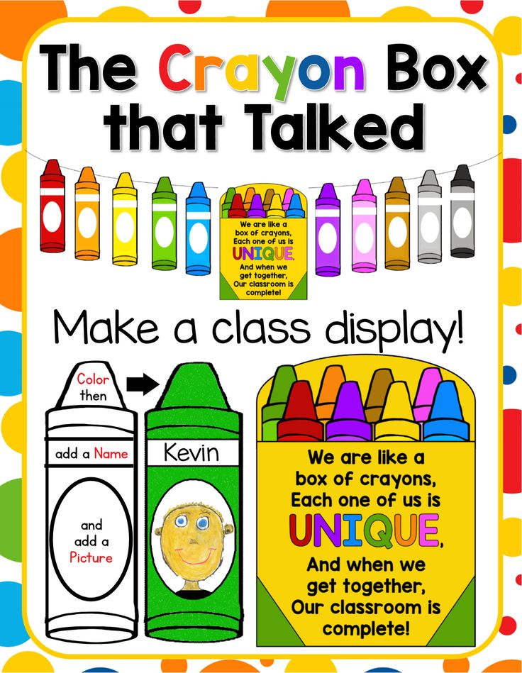 """Back to School Activity and Class Display for """"The Crayon Box that Talked""""."""