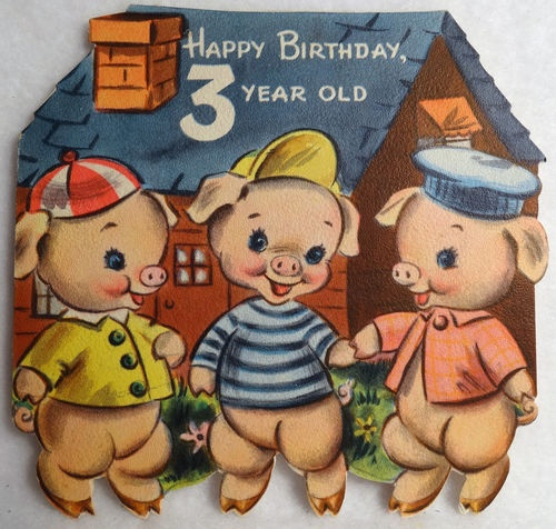 Pigs, vintage birthday card