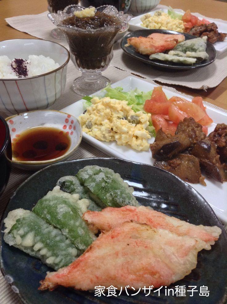 2015/7/9 夕食 天ぷらとナス味噌