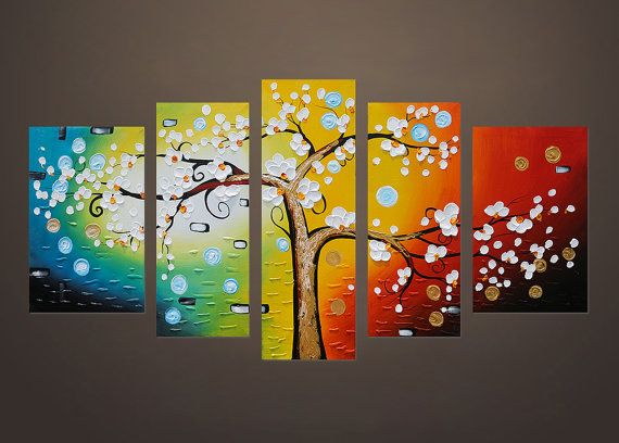 Hand-painted modern home decoration hanging wall art abstract colorful flowering cherry tree thick palette knife canvas oil painting by Lisa – wall art