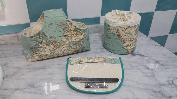 Cestas y neceser mapamundi hechos a mano.