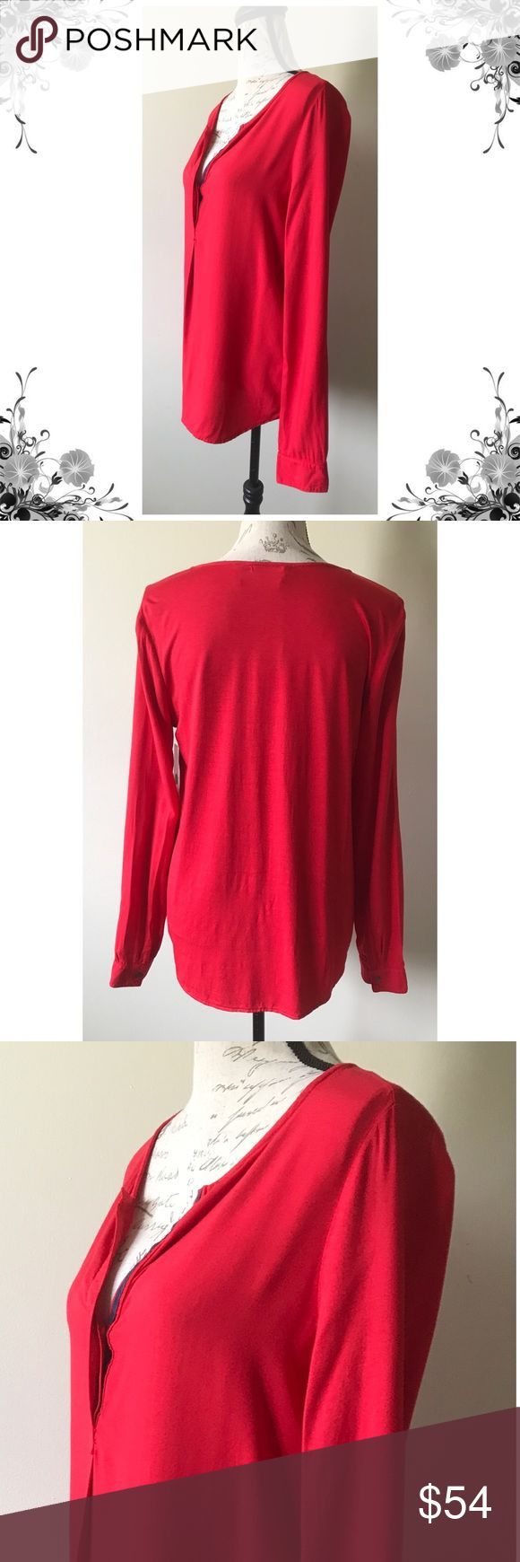{Three Dots} Vibrant Red Blouse Measurements coming soon! Viscose/Spandex material. Gorgeous bright red! Bundle for discounts! Thank you for shopping my closet! Bin Three Dots Tops Blouses