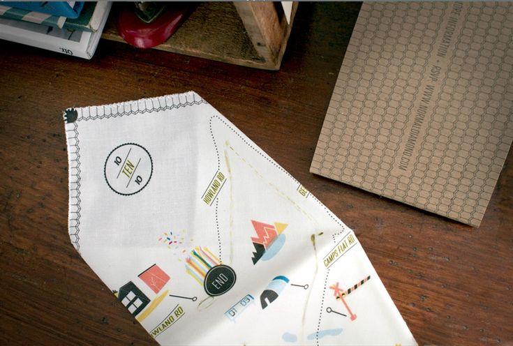 Kelli Anderson: Handkerchief Map Invite
