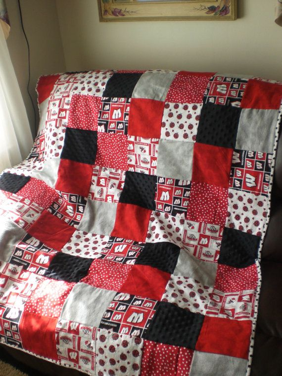 Wisconsin Badger quilt created with cotton by HugsAndKissesTLC, $30.00