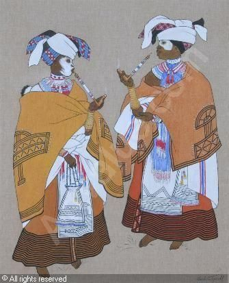 Africa | Xhosa Matrons, Transkei | by Barbara Eleanor Harcourt Tyrrell ~ pen and acrylic on linen laid down