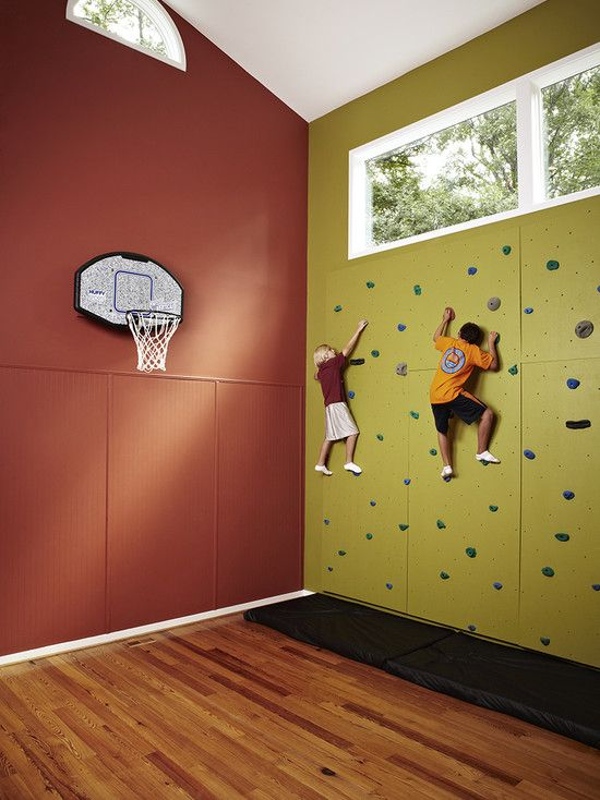 Kids Playroom   A great rock wall and basketball court for kids to get exercise and entertain friends! #KidsPlayroom
