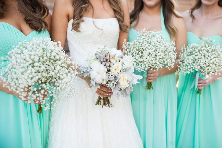 rustic cotton wedding bouquet with baby's breath and tiffany blue bridesmaid dresses