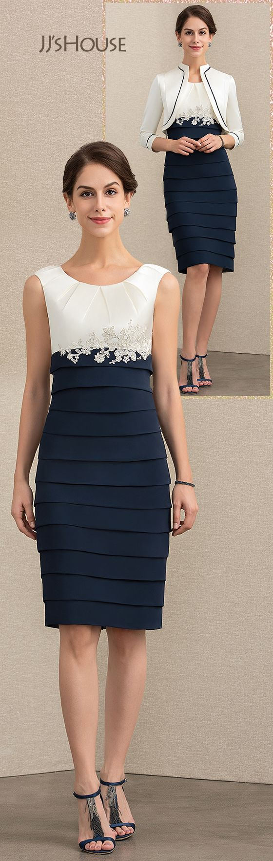 Etui-Linie U-Ausschnitt Knielang Chiffon Kleid für die Brautmutter mit Applikationen …   – moda