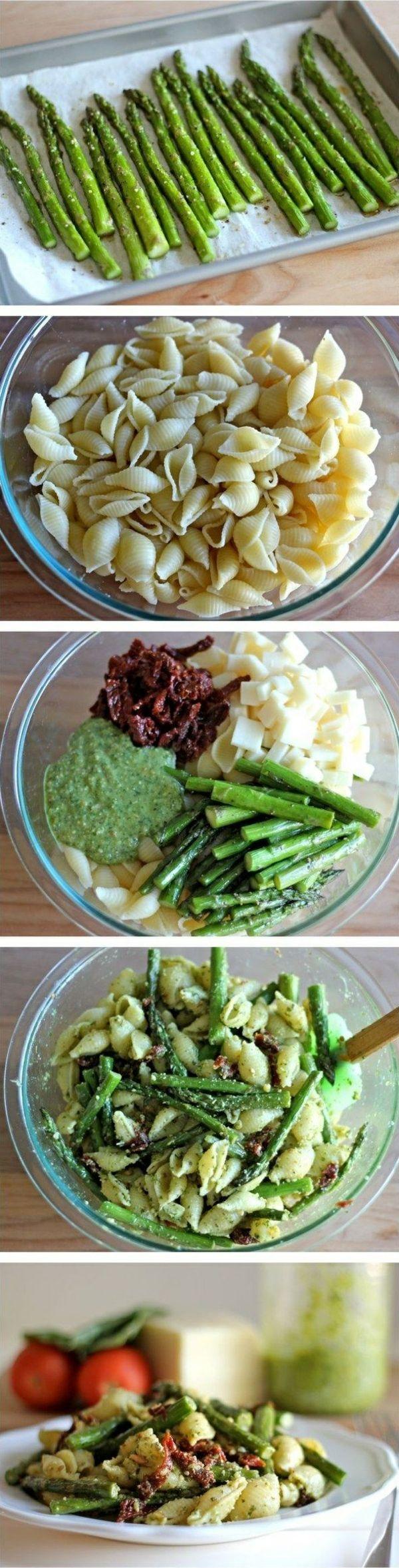 spargel gesund essen rezept spargel salat mit nudeln