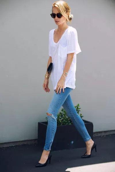白Tシャツ コーデ