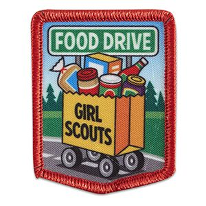"""FOOD DRIVE WAGON SEW-ON PATCH #57005 $1.50 1¾"""" x 2 ¼"""" Photo Patch. All Fun Patches are unofficial and are not to be worn on the front of the Girl Scout sash, vest or tunic. All fun patch designs are exclusively owned by Girl Scouts of the USA."""