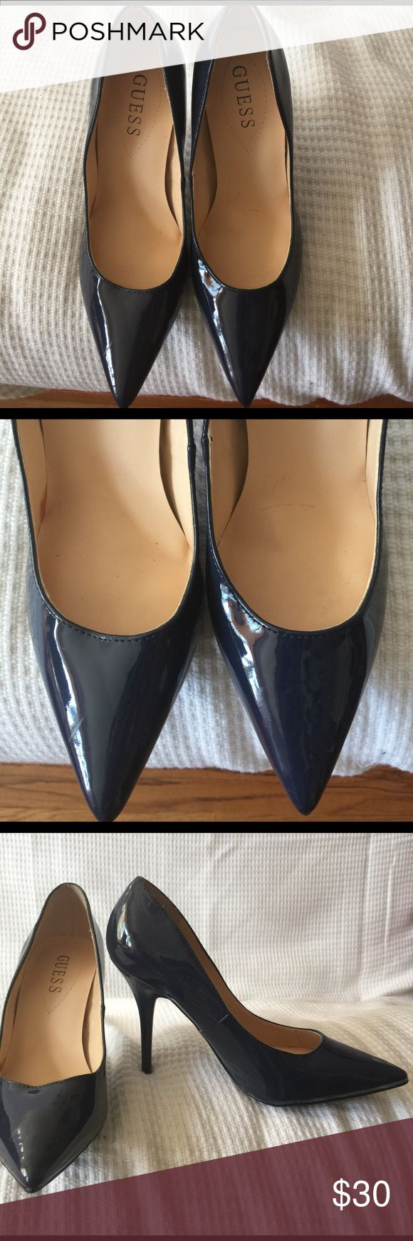 """GUESS Shoe Beautiful chic patent leather navy blue 4 """" heel... only used once for photo shoot 7 M Guess Shoes Heels"""