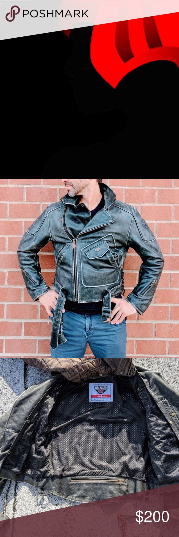 First Gear GREY Leather Motorcycle Biker Jacket First Gear Distressed GRAY Leather Motorcycle Jacket by Hein Gericke Size Medium (Hard to Find).   Jacket comes with original insulated snap-on lining and a neck protector  First Gear Distressed Gray Leather Motorcycle Jacket - Size Medium   Condition  Pre-owned. Excellent. Like New condition. Has a natural, distressed weathered look.  This jacket's leather has a distressed look but there are no scoffs or marks that suggest anything but very…