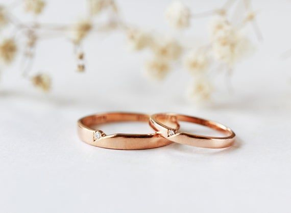 His And Hers Couples Rings Wedding Rings Rose Gold Couple Etsy In 2020 Couple Wedding Rings Couples Ring Set Wedding Rings Unique