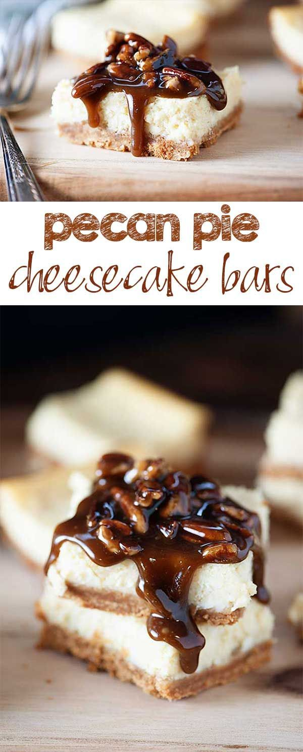 Pecan Pie Cheesecake Bars - creamy cheesecake with a thick, sweet pecan pie topping!