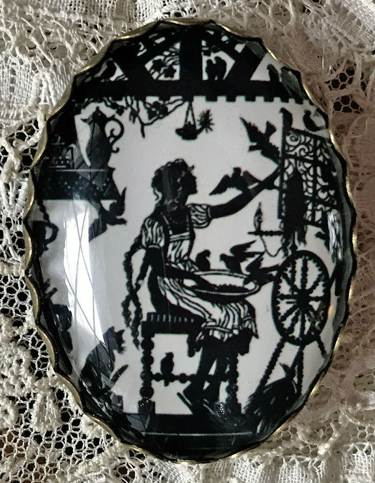 RAPUNZEL Spinning Wheel GLASS OVAL DOME BUTTON XL Vintage