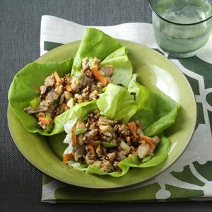 Peanutty Asian Lettuce Wraps Recipe from Taste of Home -- shared by Mandy Rivers of Lexington, South Carolina