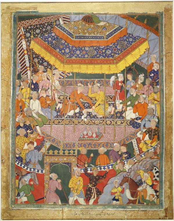Title(s):  Illustration from the Hamza Nama Two young men seated together in a pavilion, each with numerous attendants, disputing over a s...