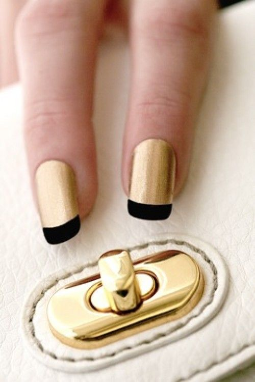 #gold metallic #nails with #black tips #french #cool #stunning