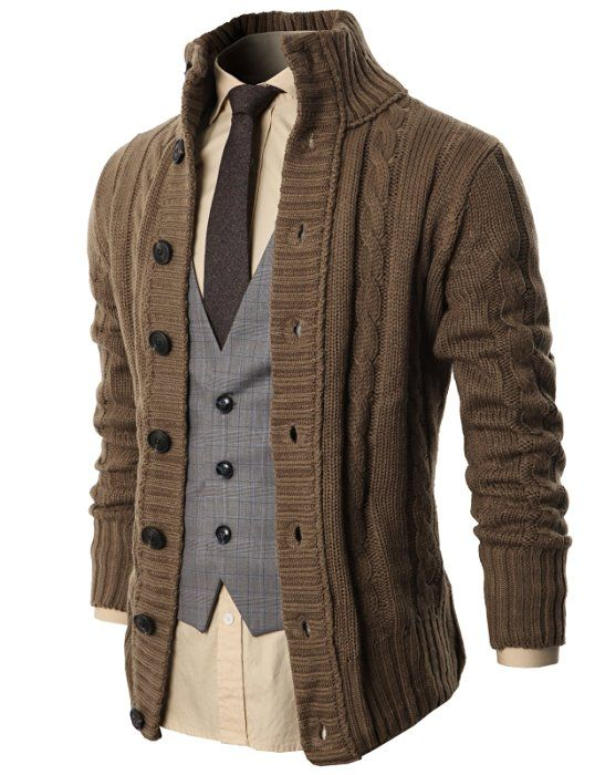 H2H Mens High Neck Twisted Knit Cardigan Sweater With Button Details BEIGE US S/Asia M (KMOCAL020)