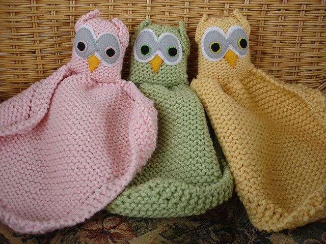 Owl Buddy Blanket: free knitting pattern: Animal Knits Patterns Free, Baby Gifts, Owl Lovey, Cute Ideas, Owl Blankets Knits, Lovey Blankets Patterns, Mjay Owl, Baby Knits Blankets Owl, Knits Owl Patterns
