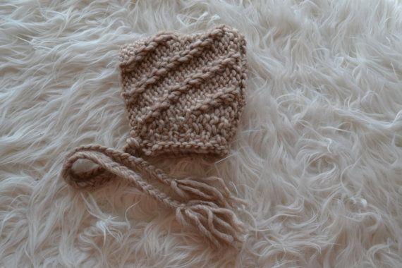 Newborn Hat Unique Bonnet Newborn Bonnet Light by knitbabyclothes, $22.00