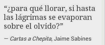 ¿Para que llorar, si hasta las lágrimas se evaporan sobre el olvido?... Cartas a Chepita