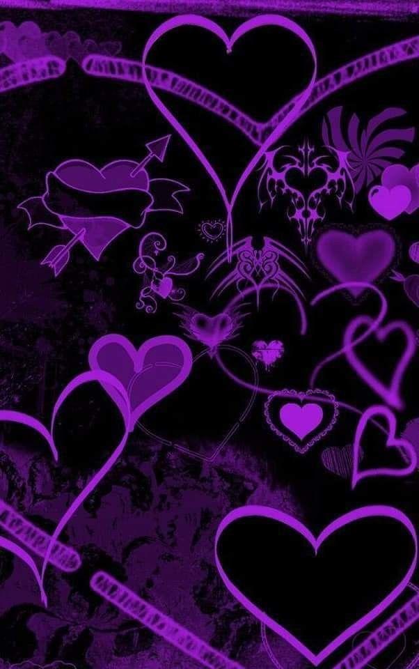Pin By Nina On Hearts Wallpaper Heart Wallpaper Emoji Wallpaper Black And Purple Background