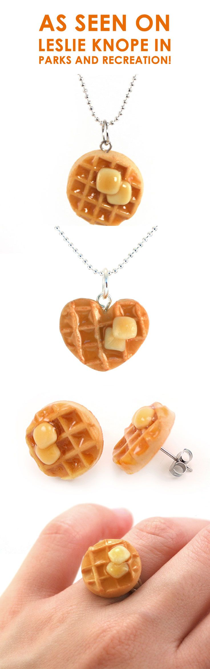 Can't figure out what to get your BFF? These scented waffle necklaces, ring and earrings make the perfect gift for anyone Parks and Recreation and Leslie Knope obsessed! Gift the EXACT necklace Amy Poehler wore in episode Operation Ann for the Leslie in your life. It even smells like maple syrup. Shop now!