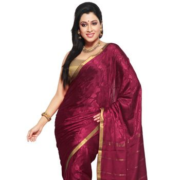 Rani Pink Pure Mysore Silk Traditional South Indian Saree with Blouse