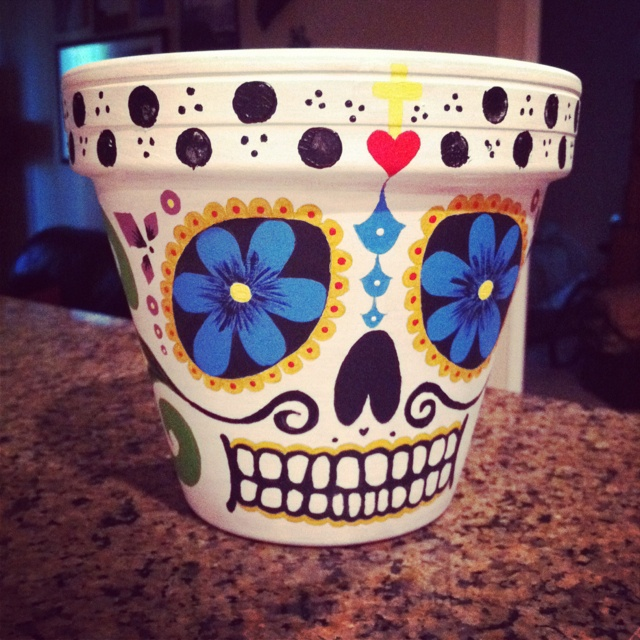 Took me forever but it's finished :) Day of the Dead terra cotta pot.