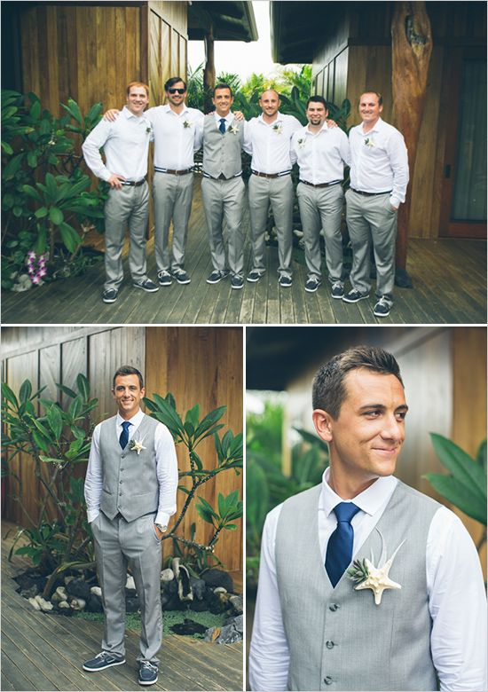 Groomsmen | #Maggiebride wore a Romantic Lace A-line Gown by Maggie Sottero at her Hawaiian Beach Wedding | ANIKO Productions