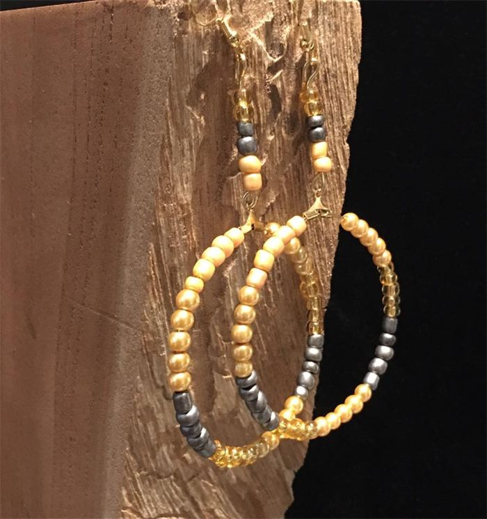 Golden shade- large hoop earrings