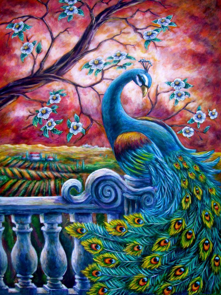 """Proud Peacock"" 30X40 Acrylic on canvas - Sebastian Pierre"