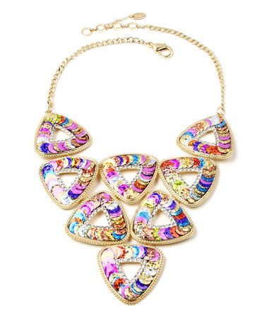 This Purple Crystal & Goldtone Noho Triangle Necklace is perfect! #zulilyfinds