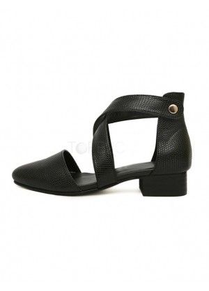 Black PU Leather Criss-Cross Chunky Heel Dress Sandals For Woman  - Sandals - Shoes