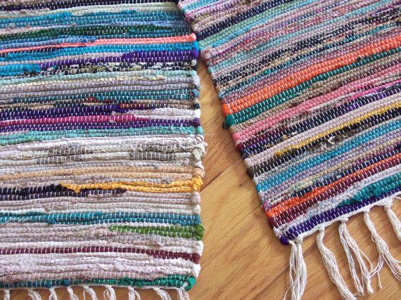 vintage rag rug duo 70s vintage 1970s rag rugs