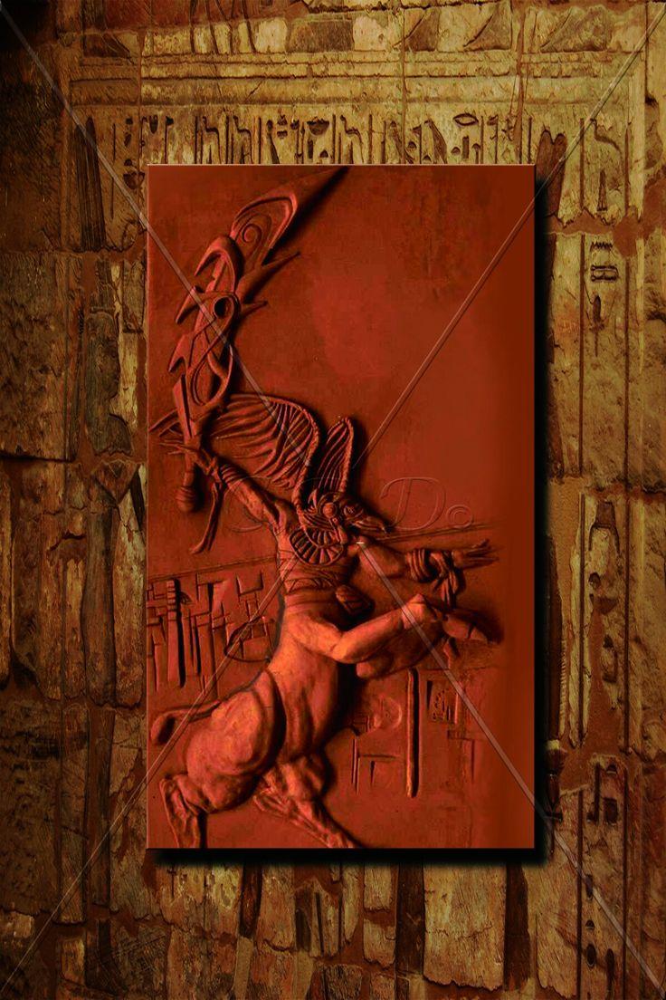 Osiris '' 240×120 cm   Teknik: Rölyef / Akrilik Boya ve Bronz Patine - Technique: Relief / Acrylic Paint and Bronze Patina ''