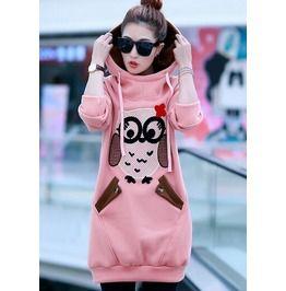 Soft Pink Cartoon Owl Side Pocket Long Hoodies