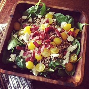 Spinach and quinoa salad with French feta--yum!