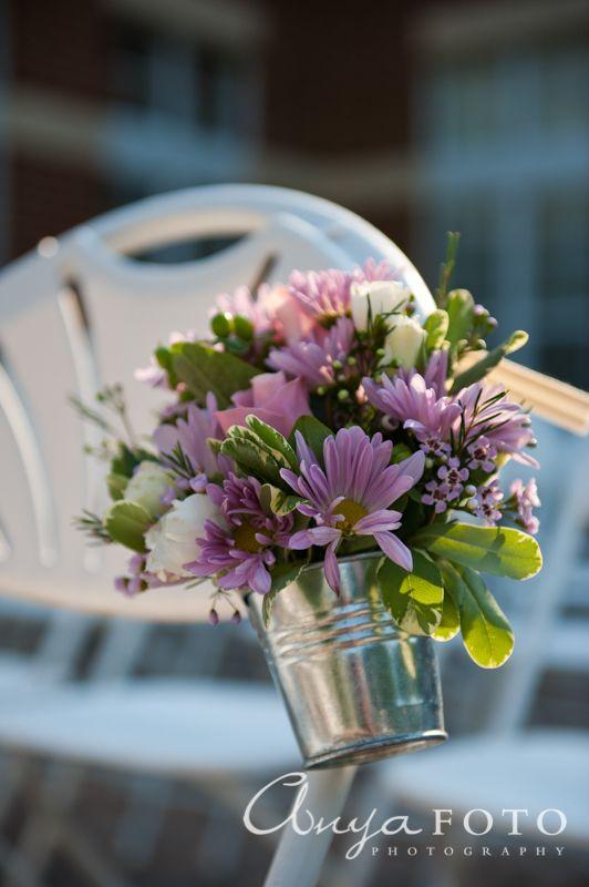Wedding Ceremony Decor anyafoto.com #wedding, outdoor wedding, outdoor wedding ideas, wedding ceremony decor ideas, flowers on pews, white folding chairs
