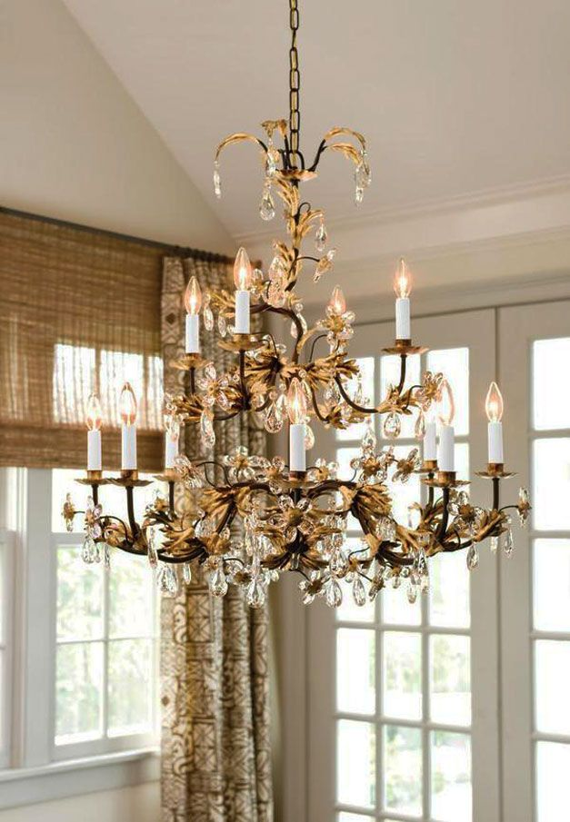 Beautiful Hand Wrought Iron Chandelier With Crystal Drops Home Lighting Ideas Entry