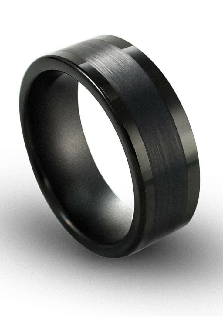 Mens 8mm Black Tungsten Wedding Ring With A Brushed Center