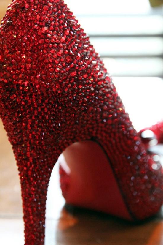 Voilà!: February 2012 Wedding Shoes DIY RED Swarovski Crystals