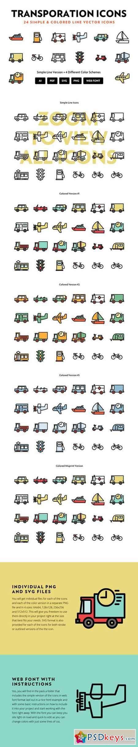 Transportation Line Icons 433665